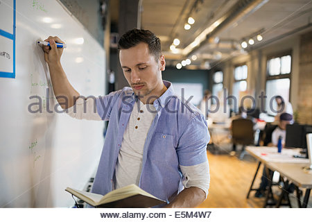 Businessman with book writing on whiteboard in office - Stock Photo
