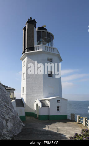 st anthonys head lighthouse  on the south cornwall coast - Stock Photo
