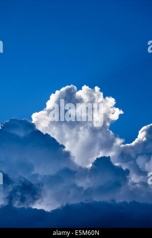 Backlit cumulonimbus clouds against a blue summer sky, UK - Stock Photo