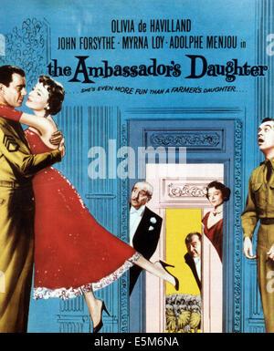 THE AMBASSADOR'S DAUGHTER, from left: John Forsythe, Olivia de Havilland, Adolphe Menjou, Edward Arnold, Myrna Loy, - Stock Photo