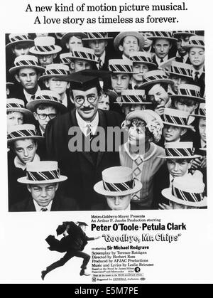 GOODBYE, MR. CHIPS, Peter O'Toole, Petula Clark, 1969 - Stock Photo