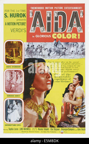 AIDA, US poster art, from left: Sophia Loren, Luciano Della Marra, 1953 - Stock Photo