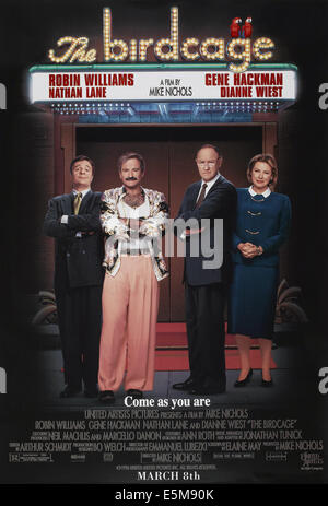 THE BIRDCAGE, US advance poster art, from left: Nathan Lane, Robin Williams, Gene Hackman, Dianne Wiest, 1996. ©United - Stock Photo