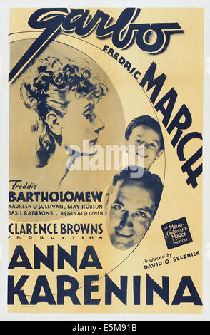 ANNA KARENINA, US poster art, clockwise from left: Greta Garbo, Freddie Bartholomew, Fredric March, 1935 - Stock Photo