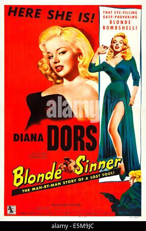 BLONDE SINNER, (aka YIELD TO THE NIGHT), US poster art, Diana Dors,  1956. - Stock Photo