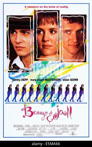 BENNY AND JOON, top l-r: Johnny Depp, Mary Stuart Masterson, Aidan Quinn, bottom: Johnny Depp on poster art, 1993, - Stock Photo