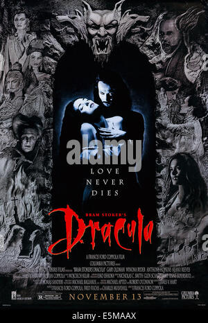 BRAM STOKER'S DRACULA, US advance poster art, from left: Winona Ryder, Gary Oldman, 1992. ©Columbia Pictures/courtesy - Stock Photo
