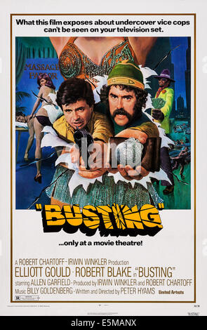 BUSTING, US poster, from left: Robert Blake, Elliott Gould, 1974 - Stock Photo