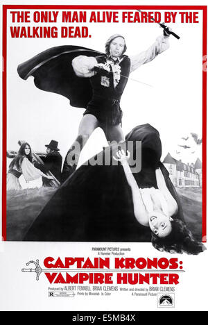 CAPTAIN KRONOS: VAMPIRE HUNTER, top center: Horst Janson on poster art, 1974 - Stock Photo