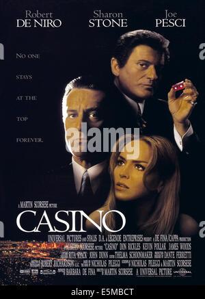CASINO, US poster art, from top: Joe Pesci, Robert De Niro, Sharon Stone, 1995, ©Universal/courtesy Everett Collection - Stock Photo