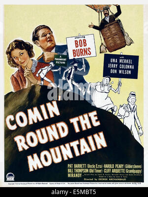 COMIN' ROUND THE MOUNTAIN, from left: Una Merkel, Bob Burns, Jerry Colonna (upper right) on window card, 1940 - Stock Photo