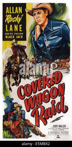 COVERED WAGON RAID, Allan 'Rocky' Lane, Black Jack the horse on poster art, 1950 - Stock Photo