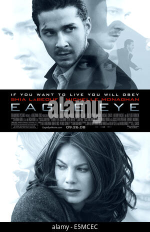 EAGLE EYE, from top: Shia LaBeouf, Michelle Monaghan, 2008. ©DreamWorks SKG/courtesy Everett Collection - Stock Photo