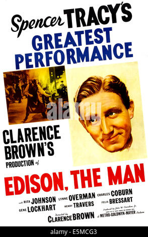 EDISON, THE MAN, US poster, Spencer Tracy, 1940 - Stock Photo