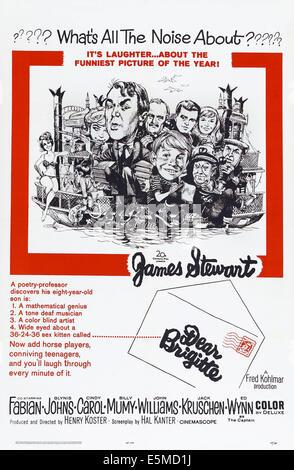 DEAR BRIGITTE, US poster, rear from left: Glynis Johns (flute), James Stewart, John Williams, Fabian, Cindy Carol, - Stock Photo