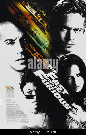 THE FAST AND THE FURIOUS, US poster art, clockwise from top right: Paul Walker, Jordana Brewster, Michelle Rodriguez, - Stock Photo