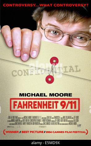 FAHRENHEIT 9/11, Michael Moore, 2004, (c) Lions Gate/courtesy Everett Collection - Stock Photo