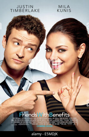 FRIENDS WITH BENEFITS, l-r: Justin Timberlake, Mila Kunis on US poster art, 2011, ©Screen Gems/courtesy Everett - Stock Photo