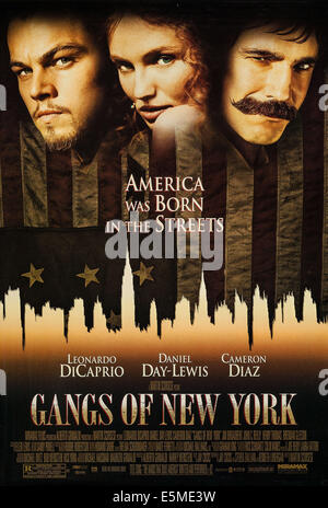 GANGS OF NEW YORK, US poster art, from left: Leonardo DiCaprio, Cameron Diaz, Daniel Day-Lewis, 2002, ©Miramax /courtesy - Stock Photo