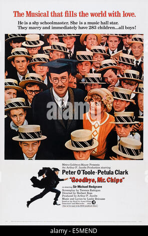 GOODBYE, MR. CHIPS, US poster, center from left: Peter O'Toole, Petula Clark, 1969 - Stock Photo