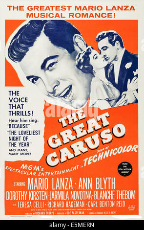 THE GREAT CARUSO, US poster art, Mario Lanza, (left and right), Ann Blyth, (center), 1951 - Stock Photo