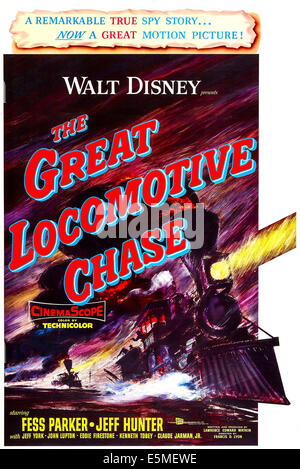 THE GREAT LOCOMOTIVE CHASE, US poster, 1956 - Stock Photo