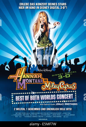 HANNAH MONTANA/MILEY CYRUS: BEST OF BOTH WORLDS CONCERT TOUR, Miley Cyrus, 2008. ©Walt Disney Pictures/Courtesy - Stock Photo