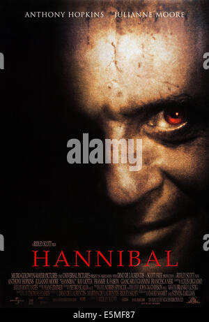 HANNIBAL, US poster art, Anthony Hopkins, 2001, © MGM/courtesy Everett Collection - Stock Photo