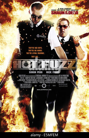 HOT FUZZ, Simon Pegg, Nick Frost, 2007. ©Rogue Pictures/courtesy Everett Collection - Stock Photo