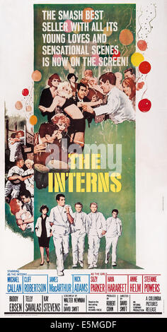 THE INTERNS, US poster, bottom from left: Suzy Parker, Michael Callan, James MacArthur, Nick Adams, Cliff Robertson, - Stock Photo