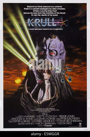 KRULL, US poster art, from left: Ken Marshall, Lysette Anthony, 1983. ©Columbia Pictures/courtesy Everett Collection - Stock Photo
