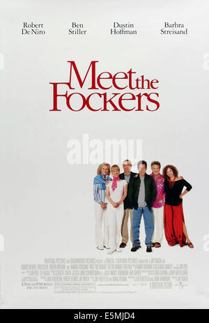 MEET THE FOCKERS, Blythe Danner, Teri Polo, Robert De Niro, Ben Stiller, Dustin Hoffman, Barbra Streisand, 2004, - Stock Photo