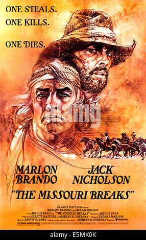 THE MISSOURI BREAKS, Marlon Brando, Jack Nicholson, 1976 - Stock Photo
