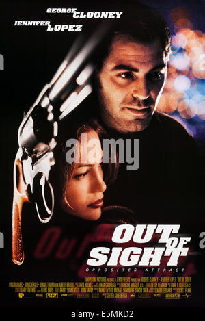 OUT OF SIGHT, US poster art, from left: Jennifer Lopez, George Clooney, 1998. ©Universal/courtesy Everett Collection - Stock Photo
