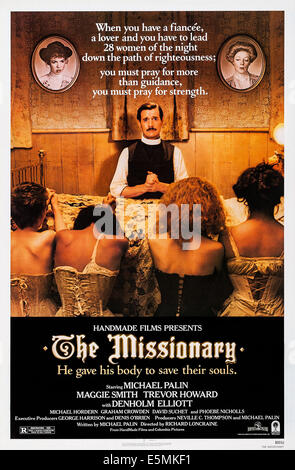 THE MISSIONARY, US poster, top from left: Phoebe Nicholls, Maggie Smith, Michael Palin (seated), 1982, © Columbia/courtesy - Stock Photo