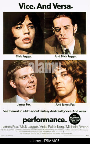 PERFORMANCE, Mick Jagger (top l and r.), James Fox (bottom l and r), 1970 - Stock Photo