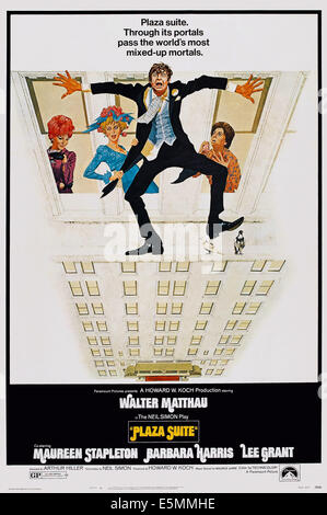 PLAZA SUITE, l-r: Barbara Harris, Lee Grant, Walter Matthau, Maureen Stapleton on poster art, 1971. - Stock Photo