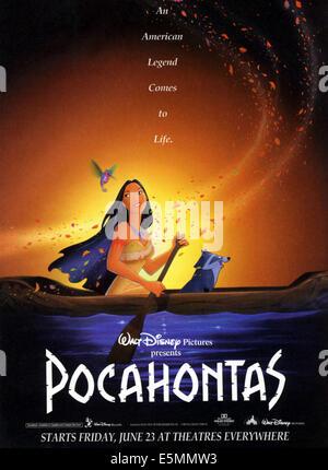 POCAHONTAS, l-r: Flit, Pocahontas, Meeko on poster art, 1995, ©Walt Disney Pictures/courtesy Everett Collection - Stock Photo