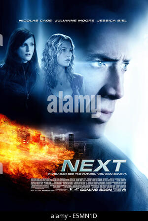 NEXT, US poster, l-r: Julianne Moore, Jessica Biel, Nicolas Cage, 2007. ©Paramount Pictures/courtesy Everett Collection - Stock Photo