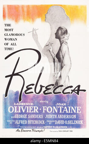 REBECCA, US poster, Joan Fontaine, 1940. TM and Copyright © 20th Century Fox Film Corp. All rights reserved./courtesy - Stock Photo