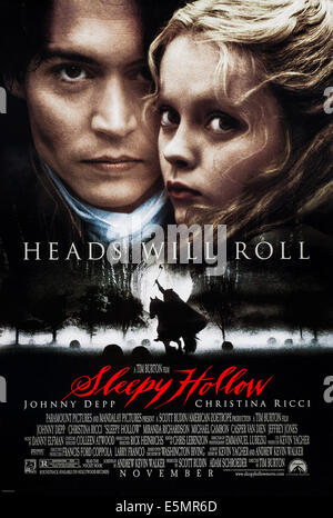 SLEEPY HOLLOW, US advance poster art, from left: Johnny Depp, Christina Ricci, 1999 - Stock Photo