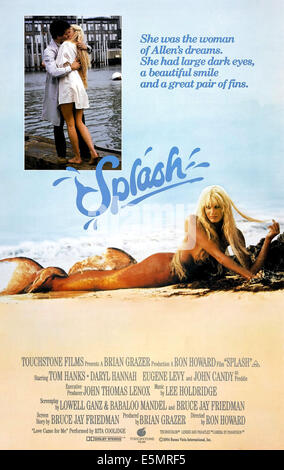 SPLASH, inset l-r: Tom Hanks, Daryl Hannah, bottom: Daryl Hannah on poster art, 1984, ©Buena Vista Pictures/courtesy - Stock Photo