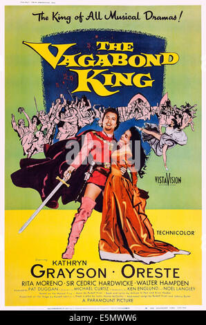 THE VAGABOND KING, US poster art, from left: Oreste Kirkop, Kathryn Grayson, 1956 - Stock Photo