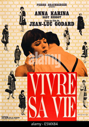 MY LIFE TO LIVE, (aka VIVRE SA VIE: FILM EN DOUZE TABLEAUX, aka IT'S MY LIFE), left: Anna Karina on French poster - Stock Photo
