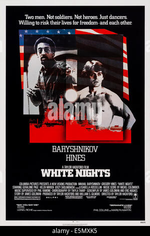 WHITE NIGHTS,  US poster art, from left: Gregory Hines, Mikhail Baryshnikov, 1985. ©Columbia Pictures/courtesy Everett - Stock Photo