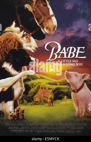BABE, US poster art, Babe the pig, 1995, ©Universal Pictures/courtesy Everett Collection - Stock Photo