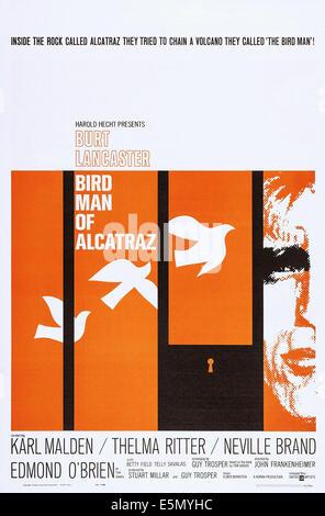 BIRDMAN OF ALCATRAZ, US poster art, Burt Lancaster, 1962 - Stock Photo
