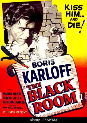 THE BLACK ROOM, US 1955 reissue poster art; large head: Boris Karloff, scene clockwise from right: Boris Karloff, - Stock Photo