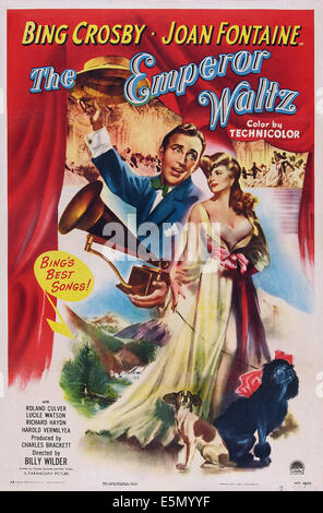 THE EMPEROR WALTZ, US poster art, Bing Crosby, Joan Fontaine, 1948 - Stock Photo