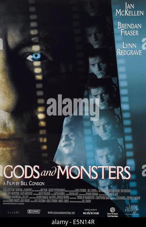 GODS AND MONSTERS, US poster art, Ian McKellen (l.), Amir Aboulela (c.), Brendan Fraser (r.), 1998, ©Lions Gate - Stock Photo